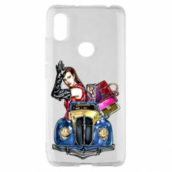Чехол для Xiaomi Redmi S2 Girl with a retro car