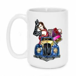 Кружка 420ml Girl with a retro car