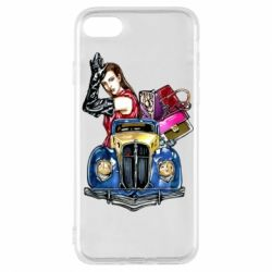 Чехол для iPhone 7 Girl with a retro car