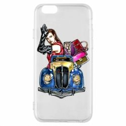 Чехол для iPhone 6/6S Girl with a retro car