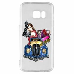 Чехол для Samsung S7 Girl with a retro car