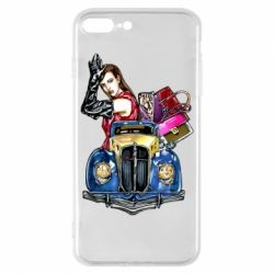 Чехол для iPhone 8 Plus Girl with a retro car