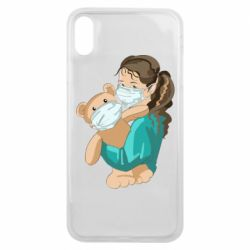 Чехол для iPhone Xs Max Girl with a teddy bear in medical masks