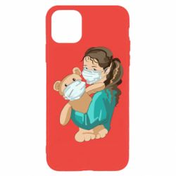 Чехол для iPhone 11 Pro Girl with a teddy bear in medical masks