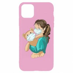 Чехол для iPhone 11 Pro Max Girl with a teddy bear in medical masks