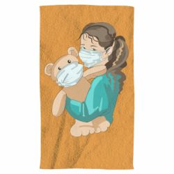 Рушник Girl with a teddy bear in medical masks