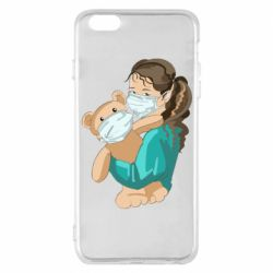 Чехол для iPhone 6 Plus/6S Plus Girl with a teddy bear in medical masks