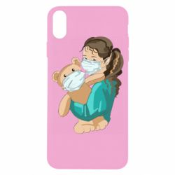 Чехол для iPhone X/Xs Girl with a teddy bear in medical masks
