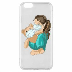 Чехол для iPhone 6/6S Girl with a teddy bear in medical masks