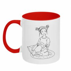 Кружка двоколірна 320ml Girl with a toy bunny