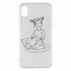 Чехол для iPhone X/Xs Girl with a toy bunny