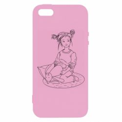 Чехол для iPhone5/5S/SE Girl with a toy bunny