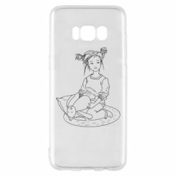 Чехол для Samsung S8 Girl with a toy bunny
