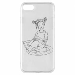 Чехол для iPhone 8 Girl with a toy bunny