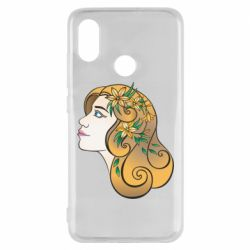 Чехол для Xiaomi Mi8 Girl with flowers in her hair art