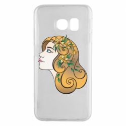 Чехол для Samsung S6 EDGE Girl with flowers in her hair art