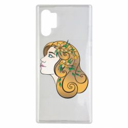 Чехол для Samsung Note 10 Plus Girl with flowers in her hair art
