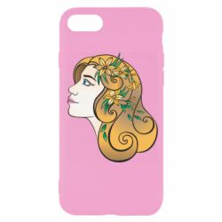 Чехол для iPhone 7 Girl with flowers in her hair art