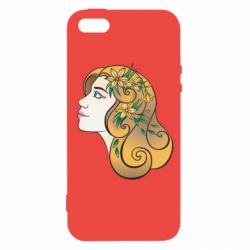 Чехол для iPhone5/5S/SE Girl with flowers in her hair art
