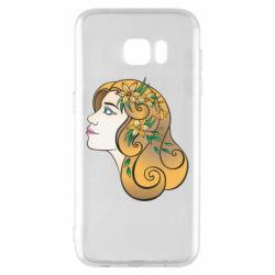 Чехол для Samsung S7 EDGE Girl with flowers in her hair art