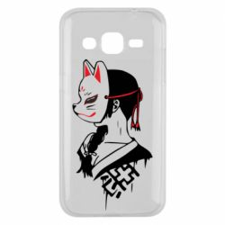 Чехол для Samsung J2 2015 Girl with kitsune mask
