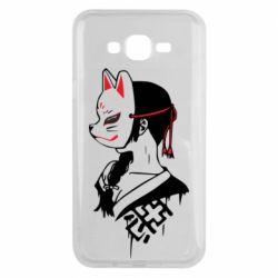 Чехол для Samsung J7 2015 Girl with kitsune mask