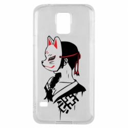 Чехол для Samsung S5 Girl with kitsune mask