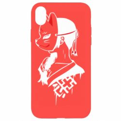 Чехол для iPhone XR Girl with kitsune mask