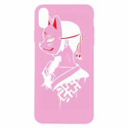 Чехол для iPhone Xs Max Girl with kitsune mask