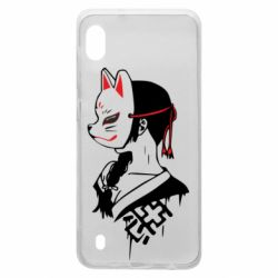 Чехол для Samsung A10 Girl with kitsune mask