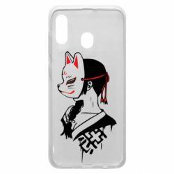 Чехол для Samsung A30 Girl with kitsune mask