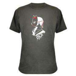 Камуфляжная футболка Girl with kitsune mask
