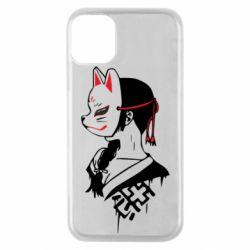 Чехол для iPhone 11 Pro Girl with kitsune mask