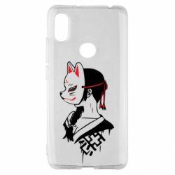 Чехол для Xiaomi Redmi S2 Girl with kitsune mask