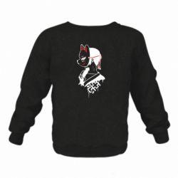 Детский реглан (свитшот) на флисе Girl with kitsune mask