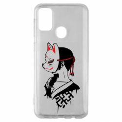 Чехол для Samsung M30s Girl with kitsune mask