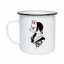 Кружка эмалированная Girl with kitsune mask