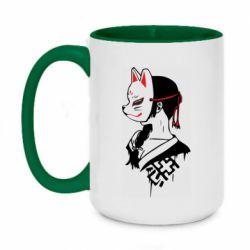 Кружка двухцветная 420ml Girl with kitsune mask