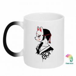Кружка-хамелеон Girl with kitsune mask