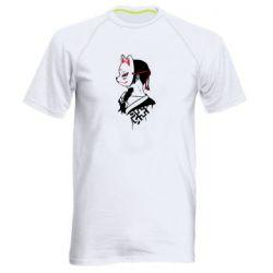 Мужская спортивная футболка Girl with kitsune mask