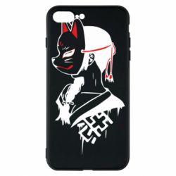 Чехол для iPhone 7 Plus Girl with kitsune mask