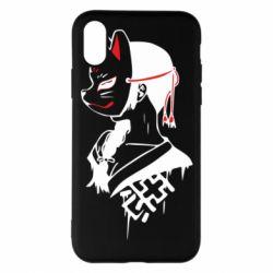 Чехол для iPhone X/Xs Girl with kitsune mask