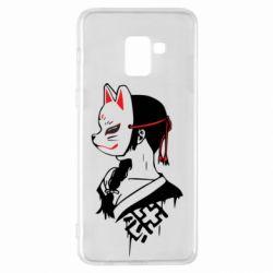 Чехол для Samsung A8+ 2018 Girl with kitsune mask