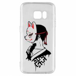 Чехол для Samsung S7 Girl with kitsune mask