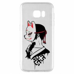 Чехол для Samsung S7 EDGE Girl with kitsune mask
