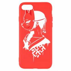 Чехол для iPhone 8 Girl with kitsune mask