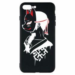 Чехол для iPhone 8 Plus Girl with kitsune mask