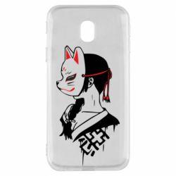 Чехол для Samsung J3 2017 Girl with kitsune mask