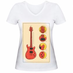 Жіноча футболка з V-подібним вирізом Гітара