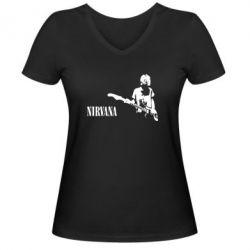 Женская футболка с V-образным вырезом Гитарист Nirvana - FatLine